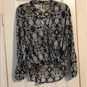 patterned blue & top blouse